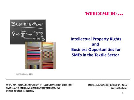 1 Intellectual Property Rights and Business Opportunities for SMEs in the Textile Sector WELCOME TO... __________________________________________________________________________.