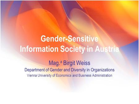 Gender-Sensitive Information Society in Austria