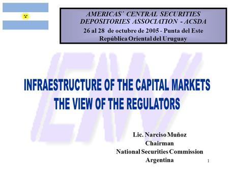 INFRAESTRUCTURE OF THE CAPITAL MARKETS THE VIEW OF THE REGULATORS