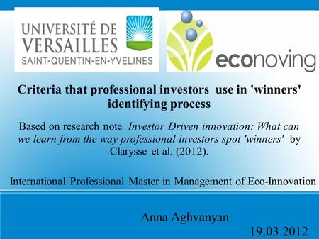 International Professional Master in Management of Eco-Innovation