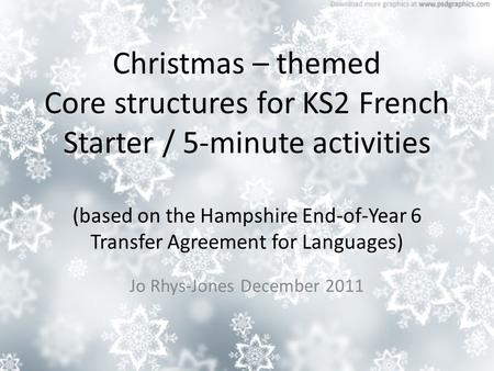 Christmas – themed Core structures for KS2 French Starter / 5-minute activities (based on the Hampshire End-of-Year 6 Transfer Agreement for Languages)