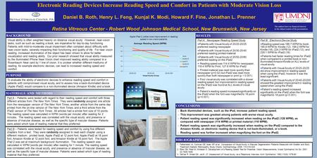 Electronic Reading Devices Increase Reading Speed and Comfort in Patients with Moderate Vision Loss Daniel B. Roth, Henry L. Feng, Kunjal K. Modi, Howard.