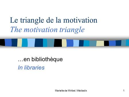 Marielle de Miribel, Médiadix1 Le triangle de la motivation The motivation triangle …en bibliothèque In libraries.