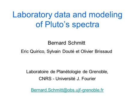 Laboratory data and modeling of Pluto's spectra