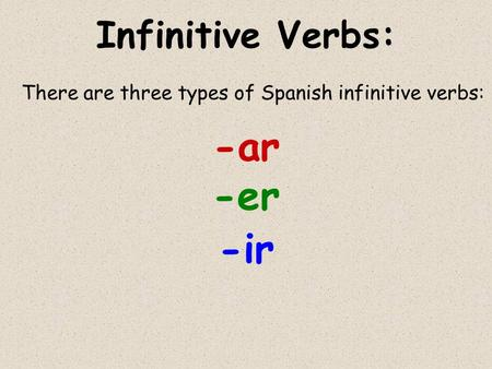 Infinitive Verbs: There are three types of Spanish infinitive verbs: -ar -er -ir.