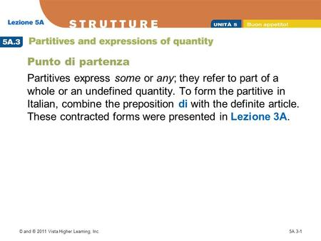 Punto di partenza Partitives express some or any; they refer to part of a whole or an undefined quantity. To form the partitive in Italian, combine the.