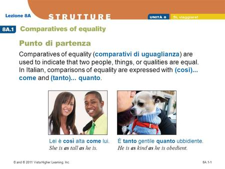 © and ® 2011 Vista Higher Learning, Inc.8A.1-1 Punto di partenza Comparatives of equality (comparativi di uguaglianza) are used to indicate that two people,