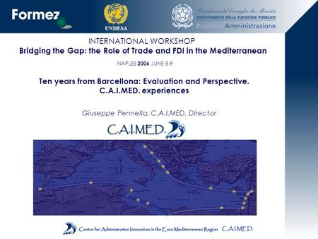 UNDESA INTERNATIONAL WORKSHOP Bridging the Gap: the Role of Trade and FDI in the Mediterranean NAPLES 2006 JUNE 8-9 Ten years from Barcellona: Evaluation.