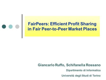 FairPeers: Efficient Profit Sharing in Fair Peer-to-Peer Market Places