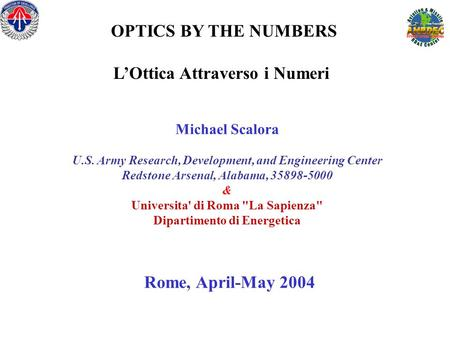 OPTICS BY THE NUMBERS L'Ottica Attraverso i Numeri