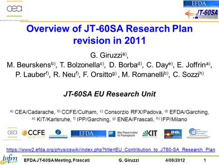 1EFDA JT-60SA Meeting, Frascati G. Giruzzi4/06/2012 Overview of JT-60SA Research Plan revision in 2011 G. Giruzzi a), M. Beurskens b), T. Bolzonella c),