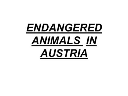 ENDANGERED ANIMALS IN AUSTRIA