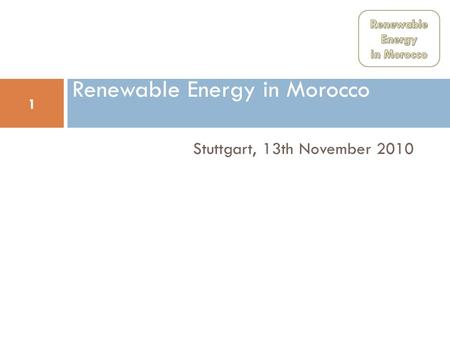 Renewable Energy in Morocco