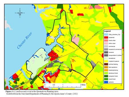 Figure 1-1. Land use and cover in the Queenstown Planning Area. Modified from the Maryland Department of Planning by the Queen Annes County (2002)