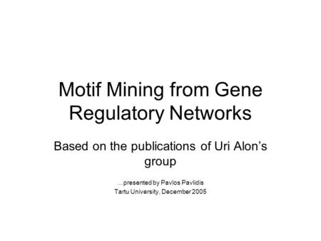Motif Mining from Gene Regulatory Networks