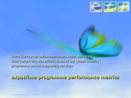 © expat technology forum 2004 all rights reserved expatriate programme performance metrics EPPM Survey: an online instrument which delivers a clear insight.