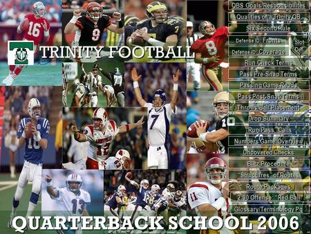 QUARTERBACK SCHOOL 2006 TRINITY FOOTBALL QBS Goals/Responsibilites QBS Goals/Responsibilites Qualities of a Trinity QB Qualities of a Trinity QB Defense.