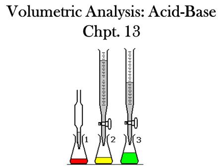 Volumetric Analysis: Acid-Base Chpt. 13. Quantitative Analysis: is analysis which involves investigating the quantities or amounts of materials present.