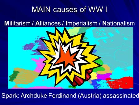 MAIN causes of WW I Militarism / Alliances / Imperialism / Nationalism Spark: Archduke Ferdinand (Austria) assassinated.