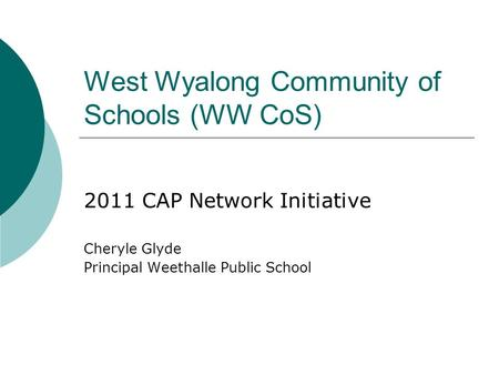 West Wyalong Community of Schools (WW CoS) 2011 CAP Network Initiative Cheryle Glyde Principal Weethalle Public School.