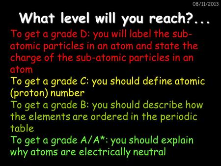 08/11/2013 What level will you reach?... To get a grade D: you will label the sub- atomic particles in an atom and state the charge of the sub-atomic particles.