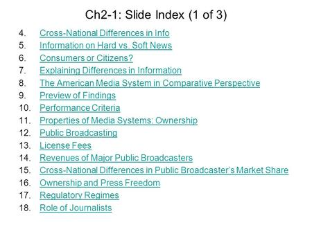Ch2-1: Slide Index (1 of 3) 4.Cross-National Differences in InfoCross-National Differences in Info 5.Information on Hard vs. Soft NewsInformation on Hard.