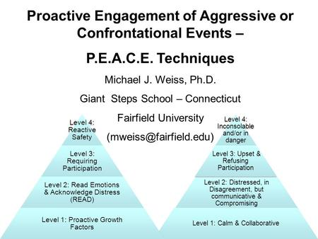 Proactive Engagement of Aggressive or Confrontational Events – P.E.A.C.E. Techniques Michael J. Weiss, Ph.D. Giant Steps School – Connecticut Fairfield.
