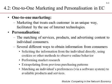 4.2: One-to-One Marketing and Personalisation in EC