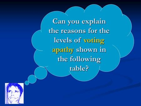 Can you explain the reasons for the levels of voting apathy shown in the following table?