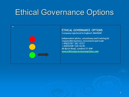 1 ETHICAL GOVERNANCE OPTIONS Company registered in England: 06645650 Independent advice, consultancy and training for responsible business, investment.