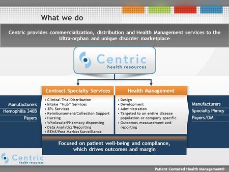 Patient Centered Health Management® What we do Centric provides commercialization, distribution and Health Management services to the Ultra-orphan and.