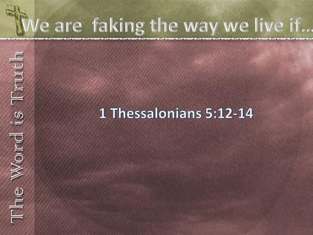 We are faking the way we live if…