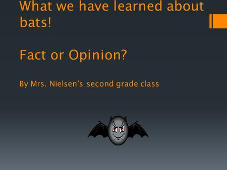 What we have learned about bats! Fact or Opinion? By Mrs. Nielsens second grade class.