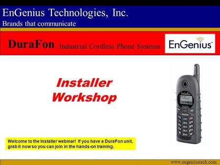 DuraFon Installer Workshop :Industrial Cordless Phone Systems