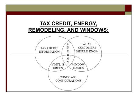 TAX CREDIT, ENERGY, REMODELING, AND WINDOWS: TAX CREDIT INFORMATION VINYL IS GREEN WINDOW BASICS WHAT CUSTOMERS SHOULD KNOW WINDOWS: CONFIGURATIONS ENERGYENERGY.