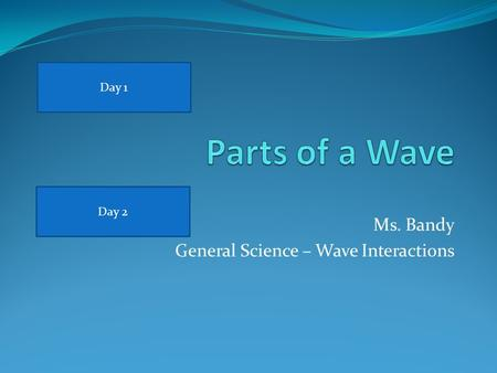 Ms. Bandy General Science – Wave Interactions