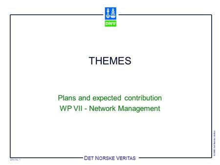 DNV No. 1 © 2000 Det Norske Veritas D ET N ORSKE V ERITAS THEMES Plans and expected contribution WP VII - Network Management.