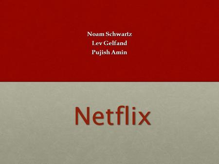 Netflix Noam Schwartz Lev Gelfand Pujish Amin. Company Description Internet Retail Industry Worlds largest subscription service company Streaming movies.