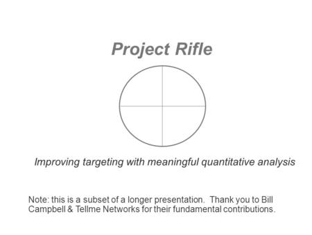 Project Rifle Improving targeting with meaningful quantitative analysis Note: this is a subset of a longer presentation. Thank you to Bill Campbell &