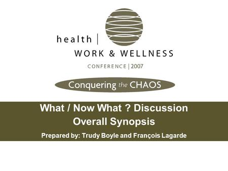 What / Now What ? Discussion Overall Synopsis Prepared by: Trudy Boyle and François Lagarde.
