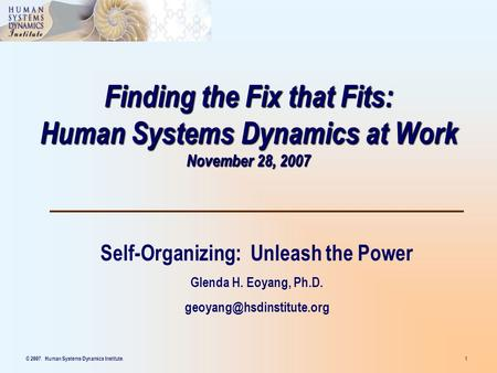 © 2007. Human Systems Dynamics Institute. 1 Finding the Fix that Fits: Human Systems Dynamics at Work November 28, 2007 Self-Organizing: Unleash the Power.