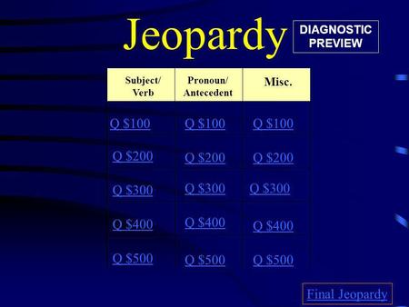 Jeopardy Subject/ Verb Misc. Q $100 Q $200 Q $300 Q $400 Q $500 Q $100 Q $200 Q $300 Q $400 Q $500 Final Jeopardy Pronoun/ Antecedent DIAGNOSTIC PREVIEW.