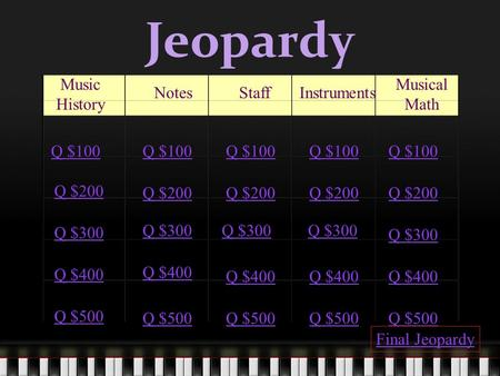 Jeopardy Music History NotesStaffInstruments Musical Math Q $100 Q $200 Q $300 Q $400 Q $500 Q $100 Q $200 Q $300 Q $400 Q $500 Final Jeopardy.