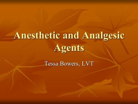 Anesthetic and Analgesic Agents Tessa Bowers, LVT.