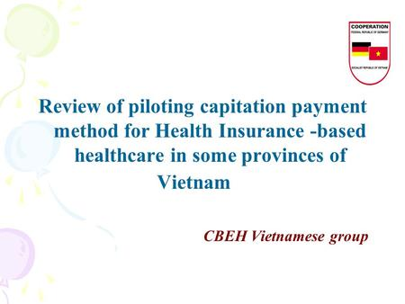 Review of piloting capitation payment method for Health Insurance -based healthcare in some provinces of Vietnam CBEH Vietnamese group.