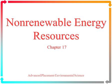 Nonrenewable Energy Resources Chapter 17 Advanced Placement Environmental Science.