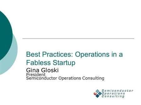 Best Practices: Operations in a Fabless Startup Gina Gloski President Semiconductor Operations Consulting.