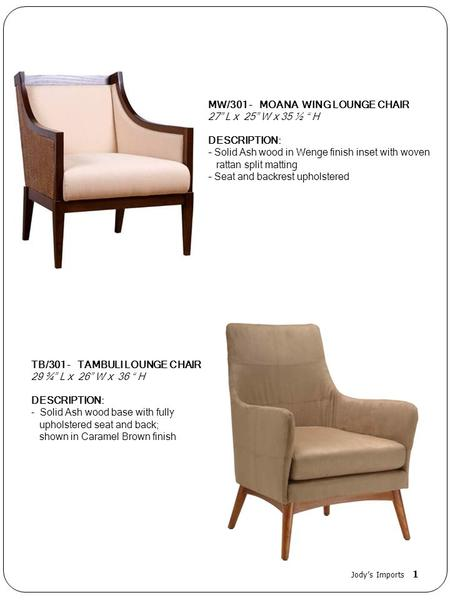"MW/301 - MOANA WING LOUNGE CHAIR 27"" L x 25"" W x 35 ½ "" H DESCRIPTION:"