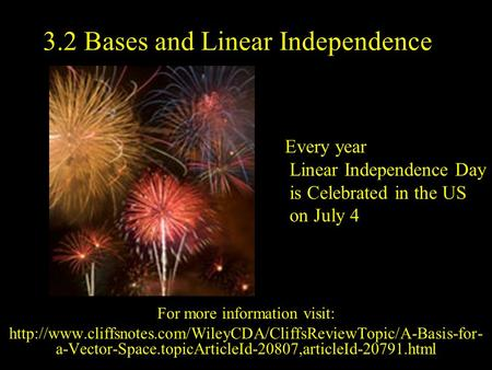 3.2 Bases and Linear Independence