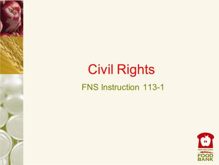 Civil Rights FNS Instruction 113-1. Civil Rights Civil Rights instruction is applicable to ALL programs and activities who receive Federal financial assistance,